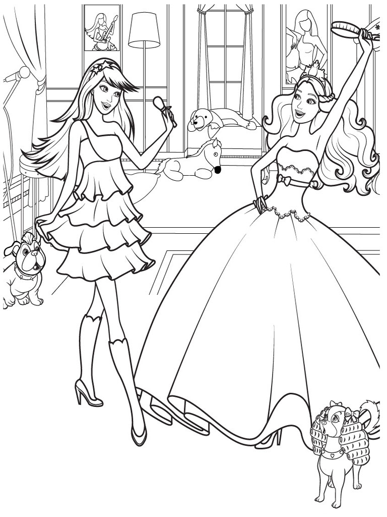 Barbie and horse coloring pages download and print for free