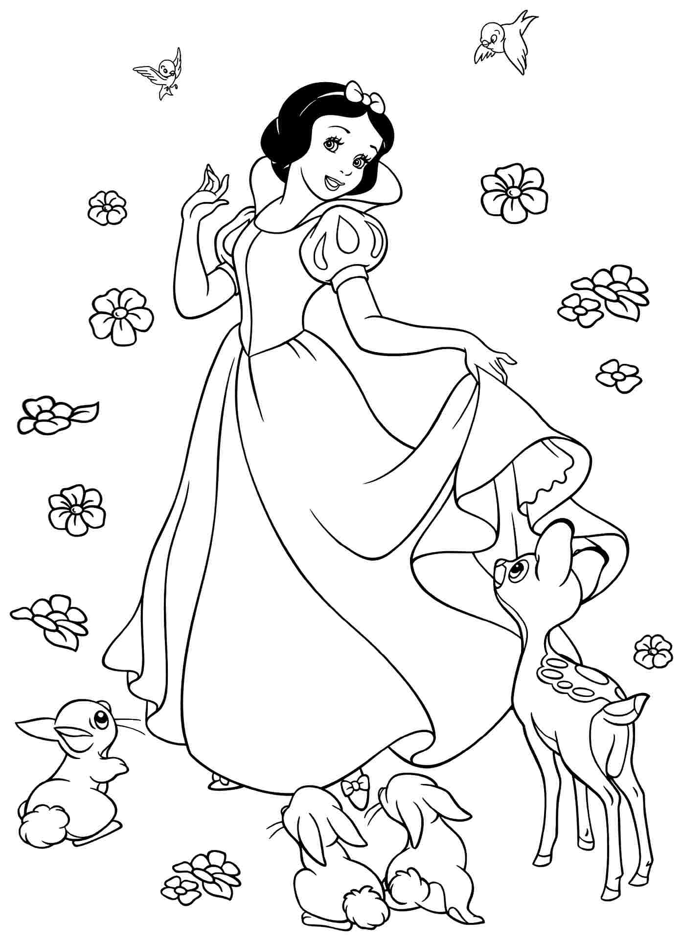 coloring pages of snow whitw - photo#17