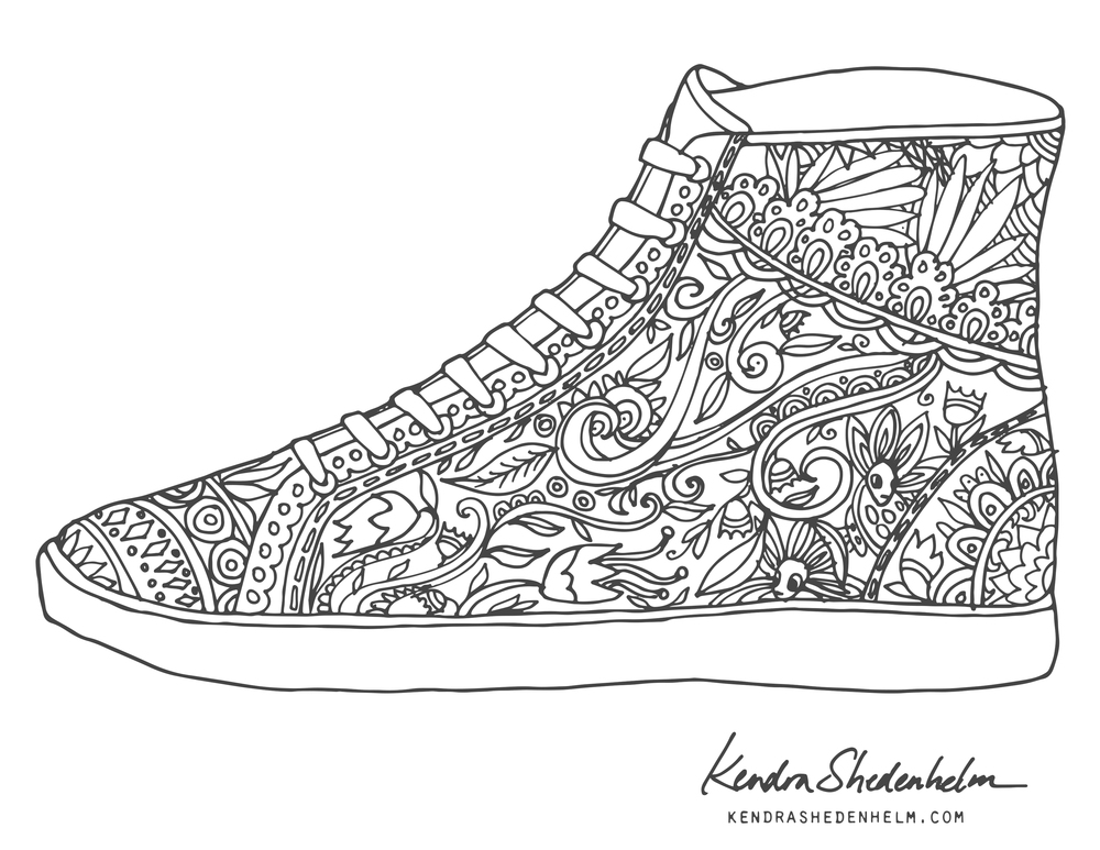 Shoe coloring pages to download and print for free