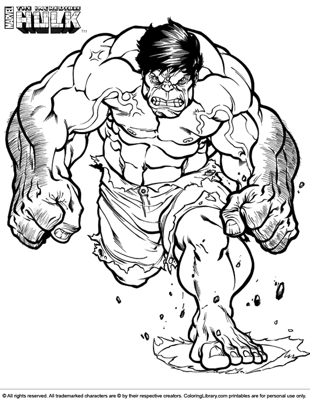 Hulk cartoon coloring pages download and print for free