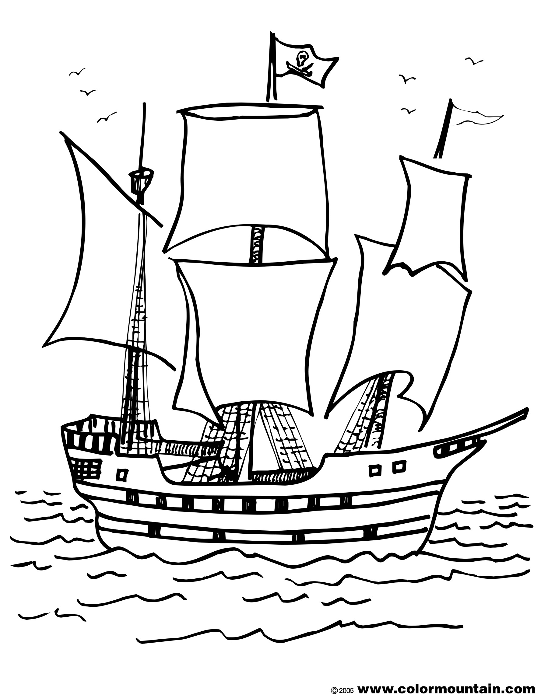 Pirate ship coloring pages to download and print for free for Battleship coloring pages