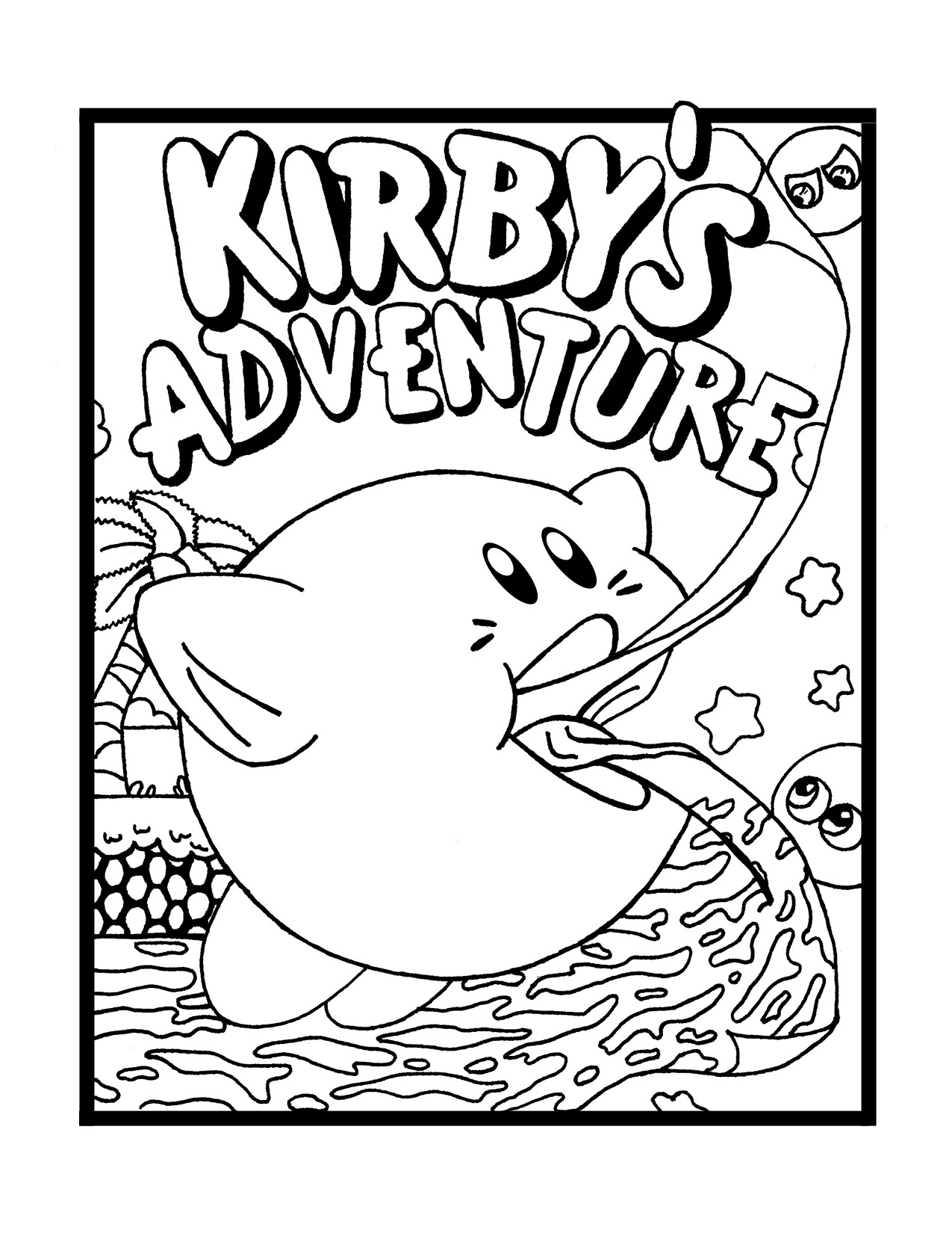 Kirby coloring pages to download and print for free for Cute kirby coloring pages