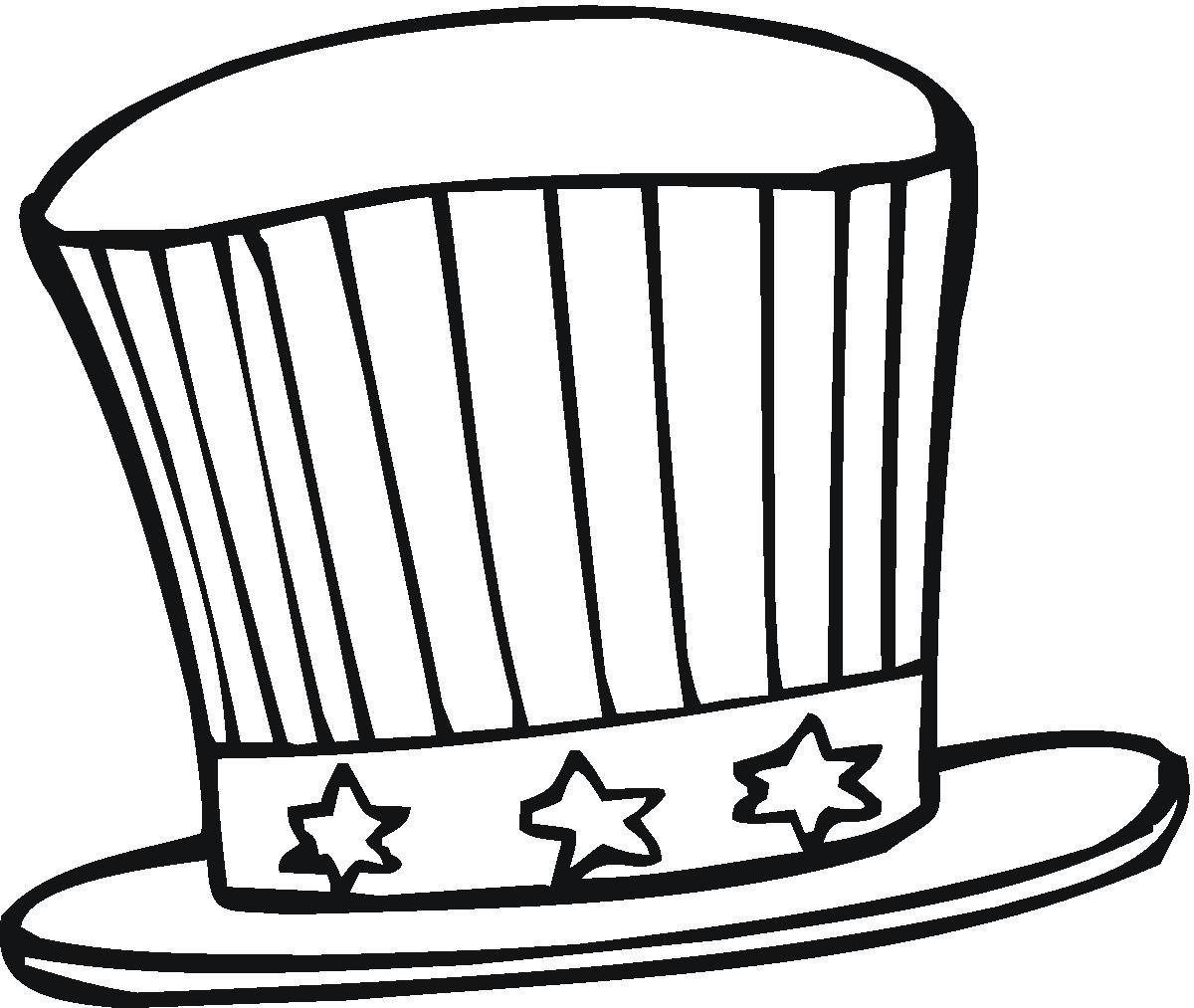 Hat coloring pages to download and print for free for Top hat template for kids