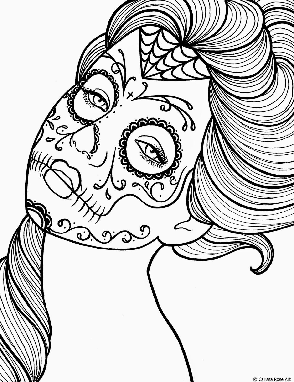 dia de los muertos skulls sugar skull coloring pages printable