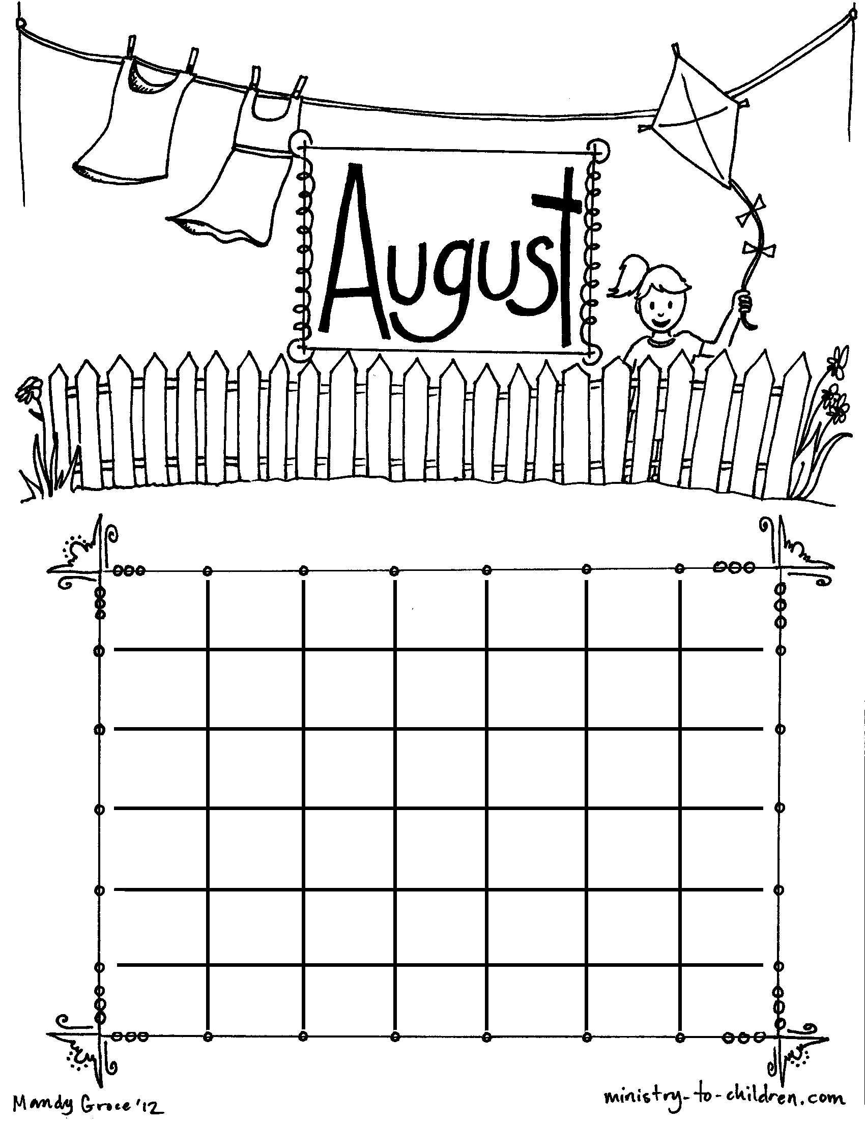 August coloring pages to download