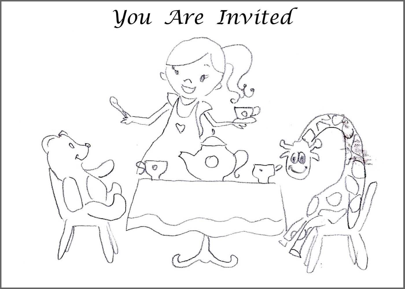 tea party coloring pages to and print for - Princess Tea Party Coloring Pages