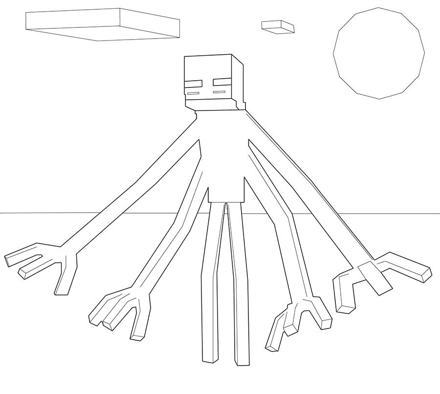 Minecraft Mutant Enderman Coloring Pages Coloring Page
