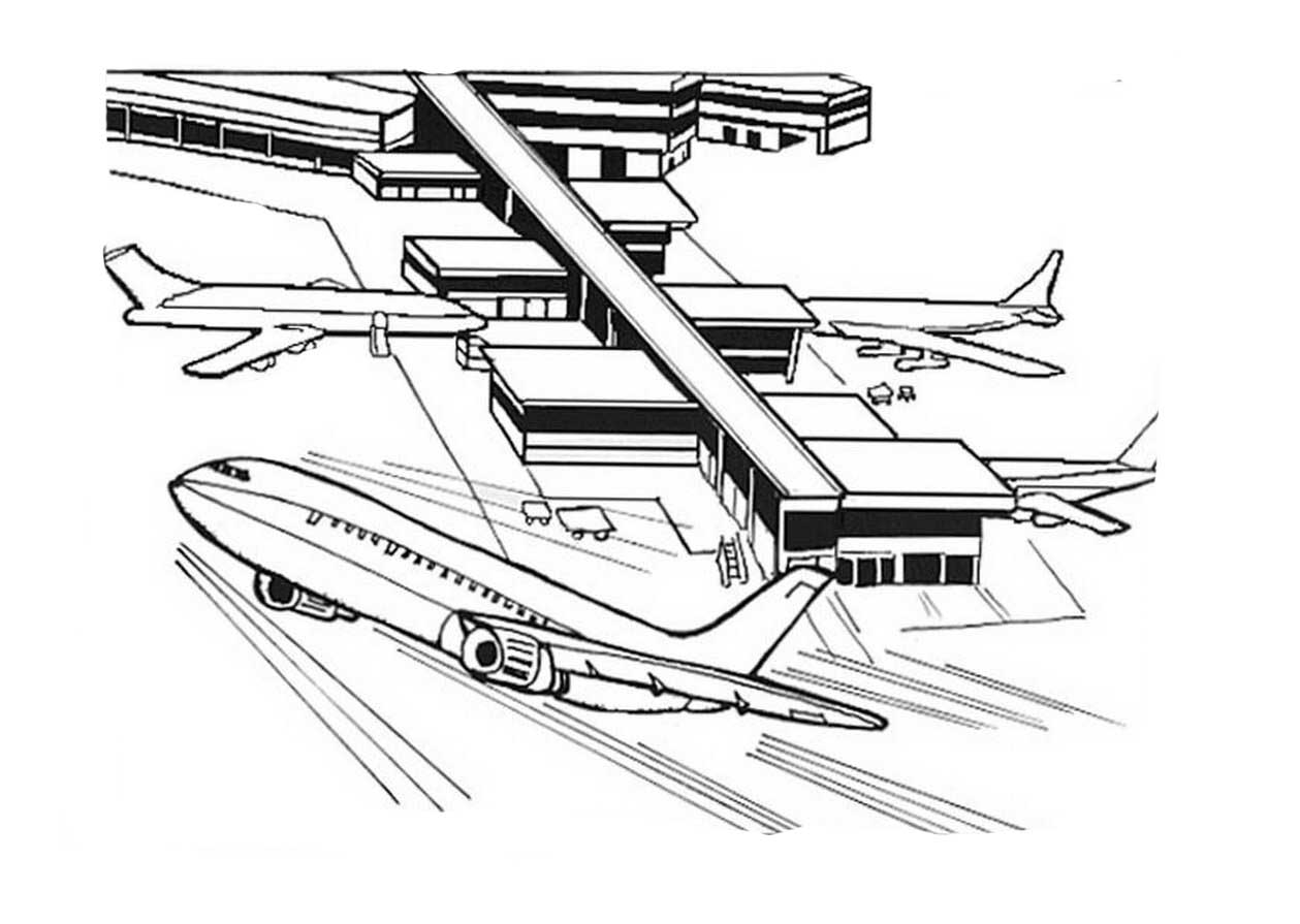 Airport coloring pages to download and print for free Airport Coloring Pages Printable