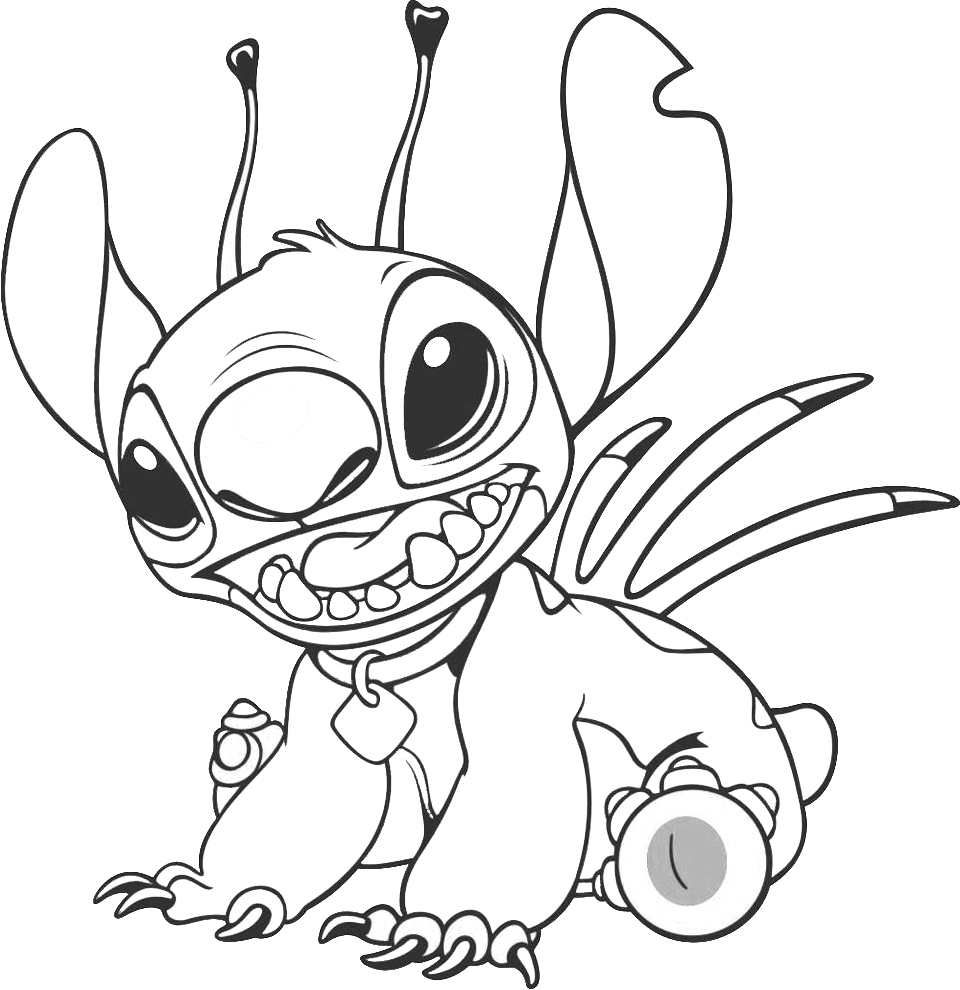 Stitch coloring pages to download and print for free