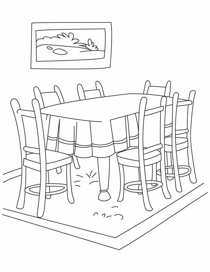 Dining room coloring pages download and print for free - Colores para pintar comedor ...