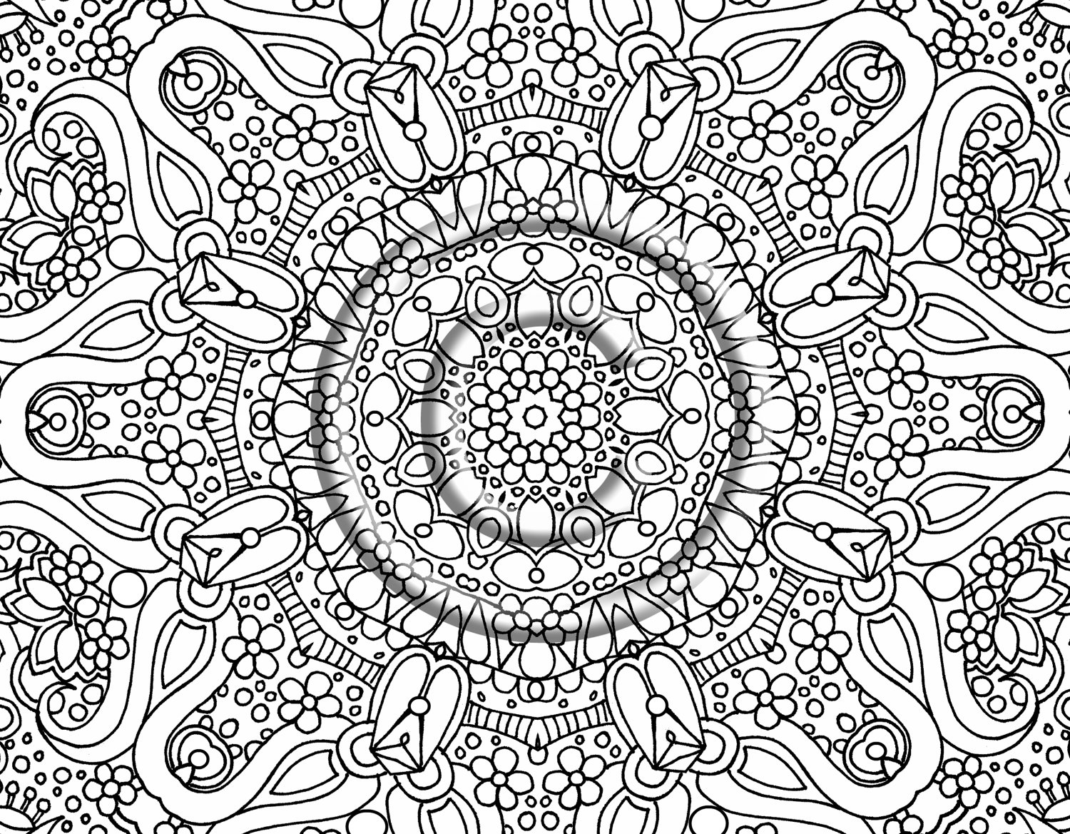 flower detailed coloring pages - photo#3