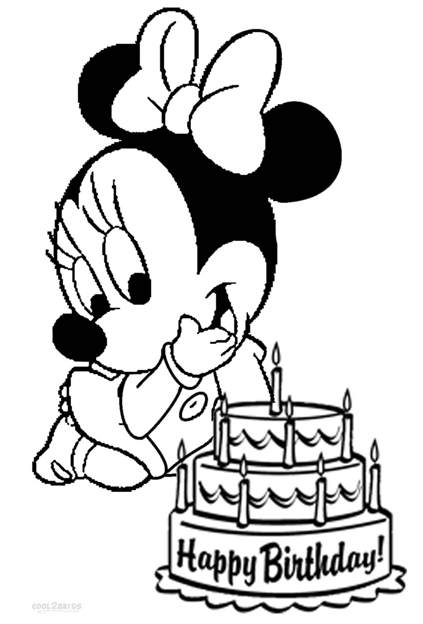 baby minnie mouse coloring pages to and print for