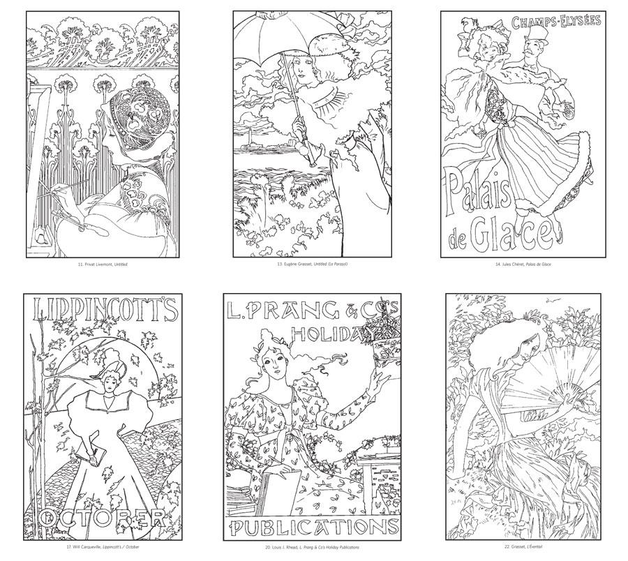 Art nouveau coloring pages to download