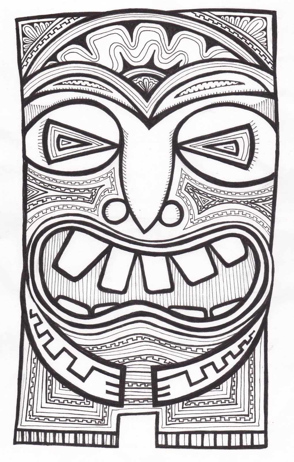 tiki masks coloring pages - photo#5