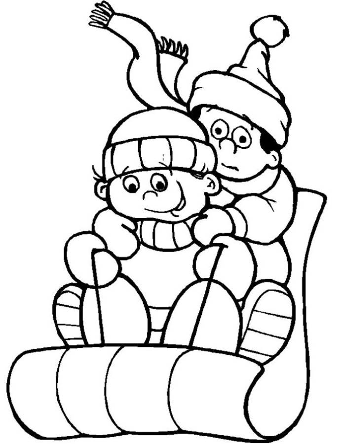 Winter sledding coloring pages download and print for free