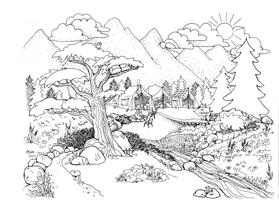 landscape coloring pages nature
