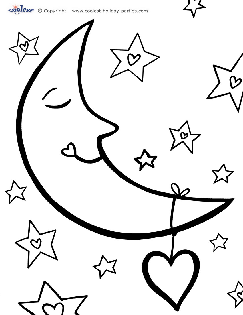 moon coloring pages to download and print for free. Black Bedroom Furniture Sets. Home Design Ideas
