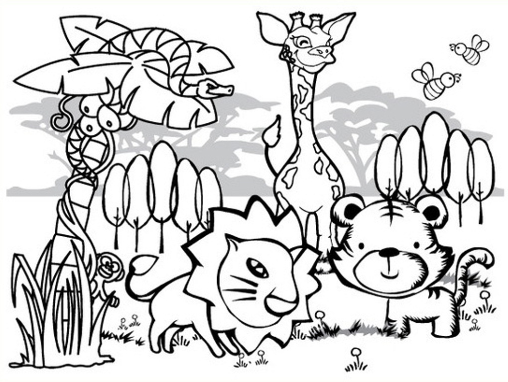 Coloring Pages Of Wetland Animals : Jungle animal coloring pages to download and print for free