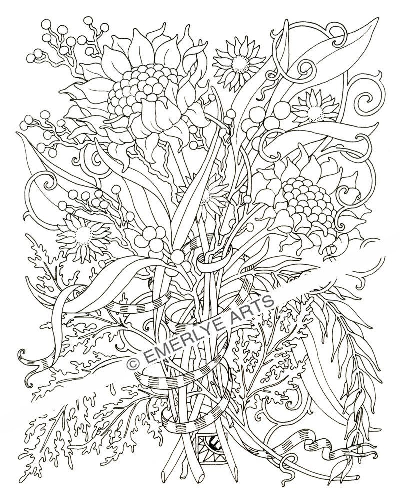 Intricate Flower Coloring Pages For Adults
