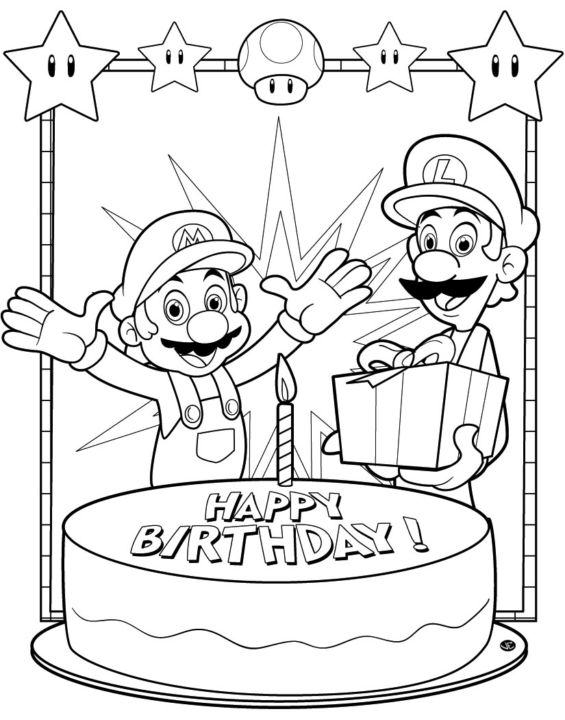 Pokemon happy birthday coloring pages - Happy Birthday Coloring Pages Printable Cute Card