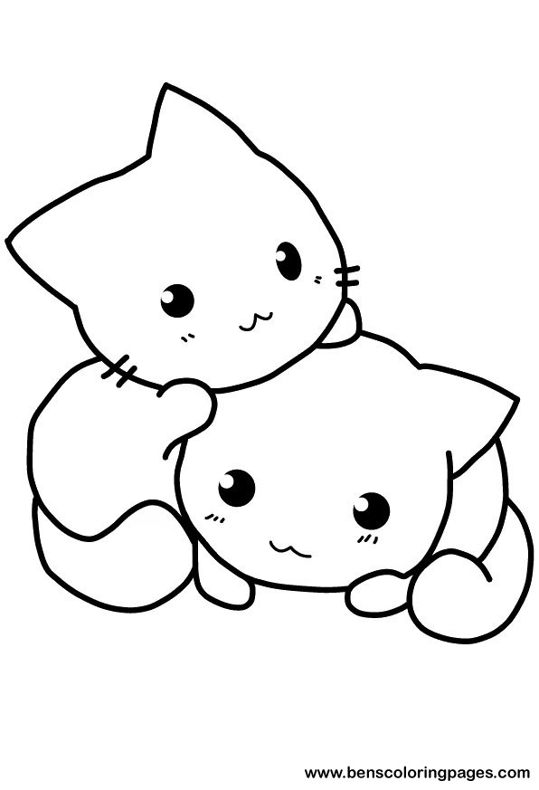 Cute cat coloring pages to download and print for free for Coloring pages of kittens to print