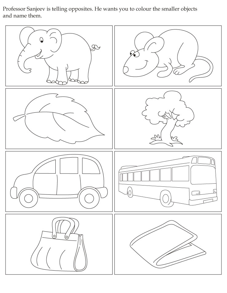 Opposites coloring pages download