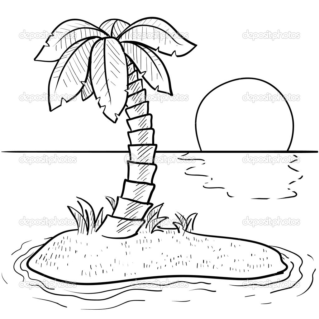 Sunset Coloring Pages on scary deserted island art