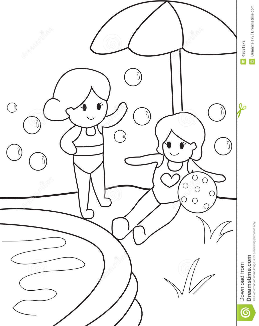 coloring pages swimming pool - photo#34