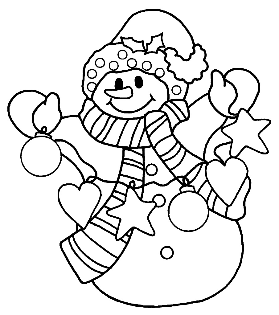 christmas girl snowman coloring pages - photo#11