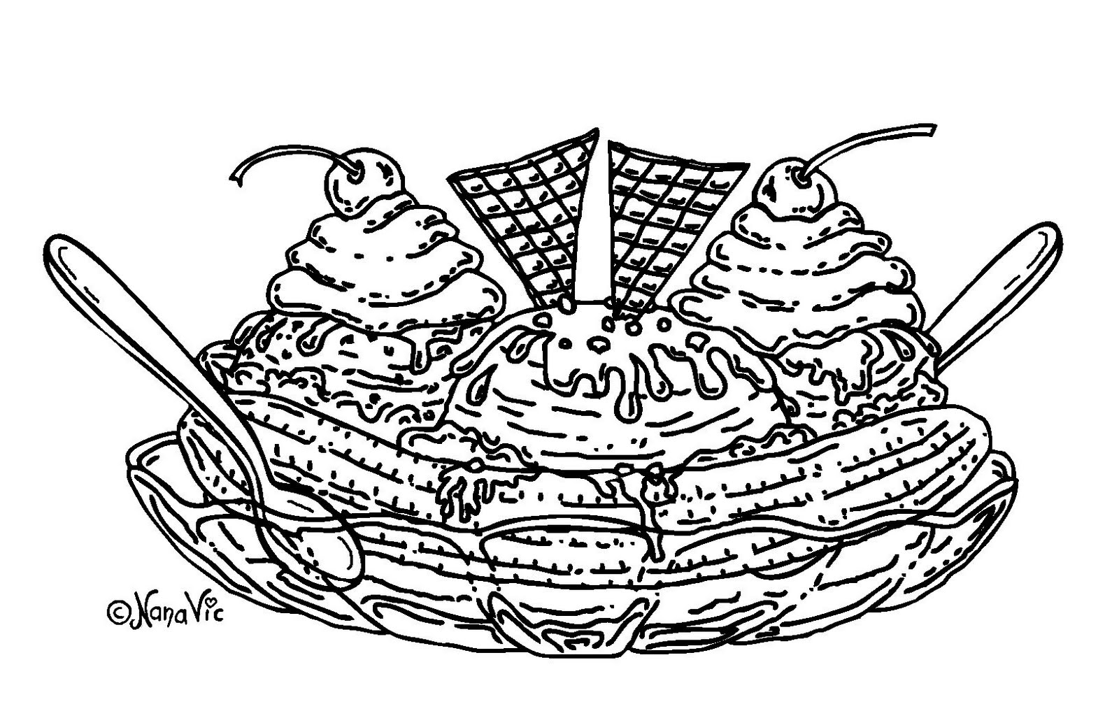 Free coloring pages ice cream sundae - Food Coloring Page