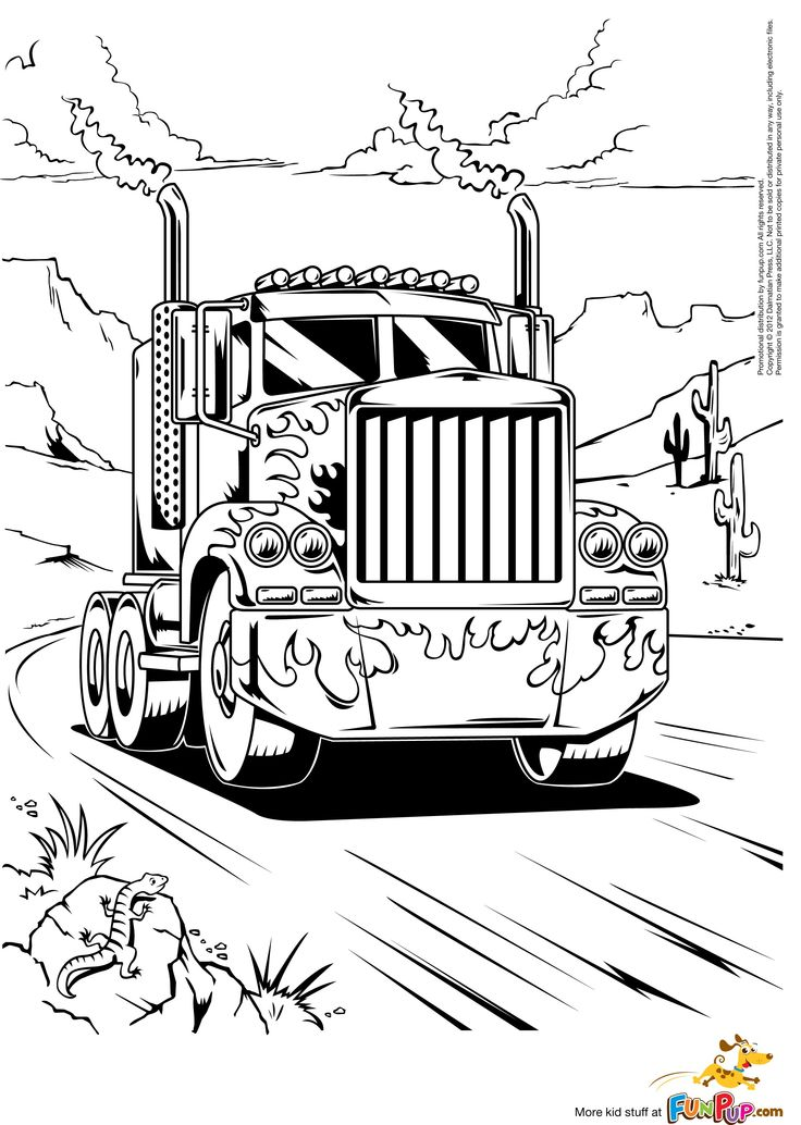 Semi truck coloring pages to download