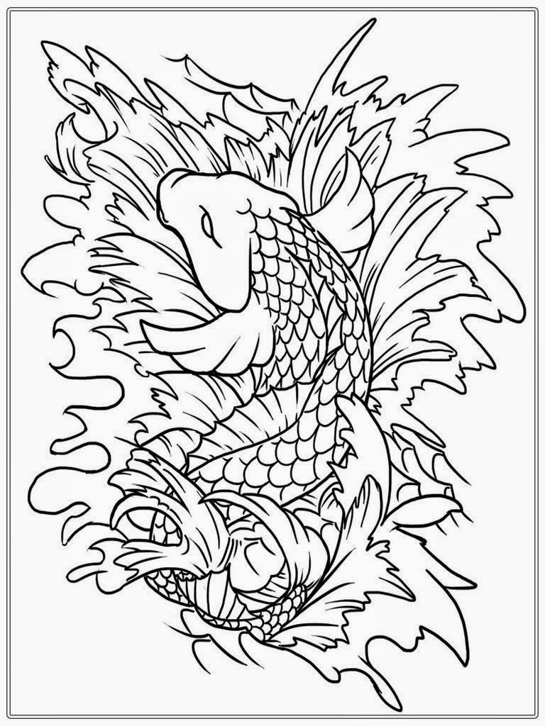 Free printable japanese coloring pages for adults - Japanese Koi Coloring Pages