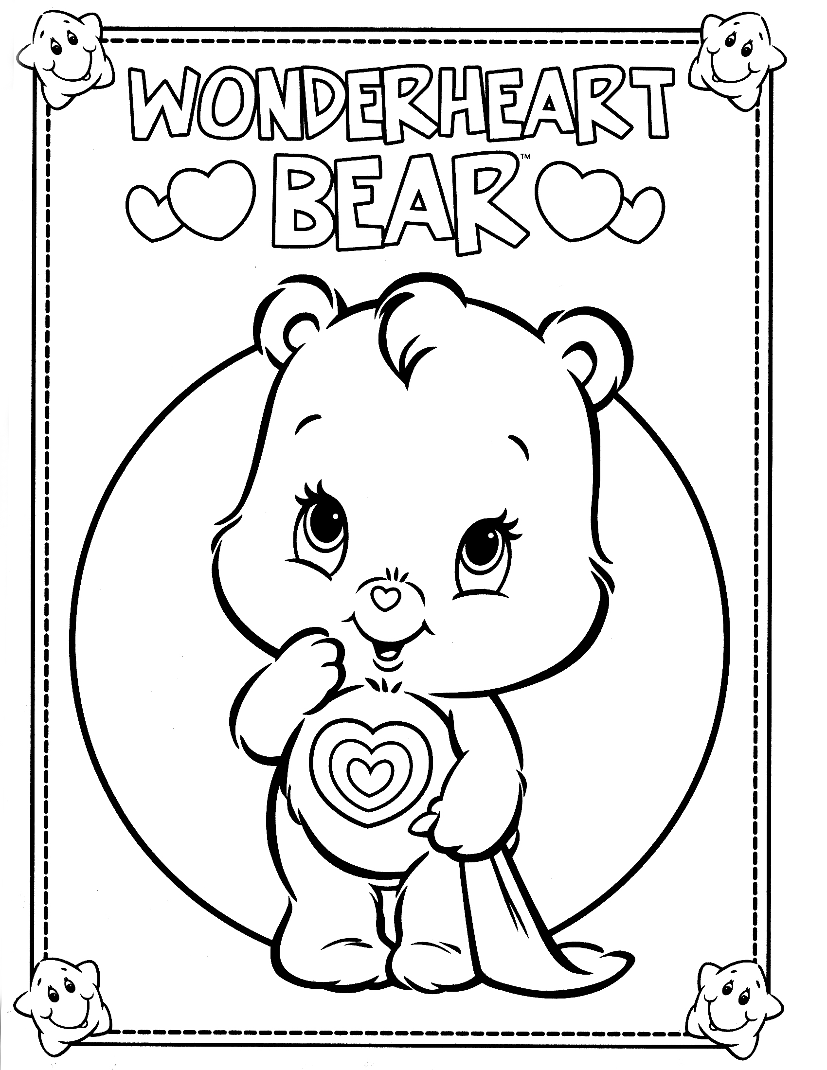 Cheer bear coloring pages download and print for free for Free bear coloring pages