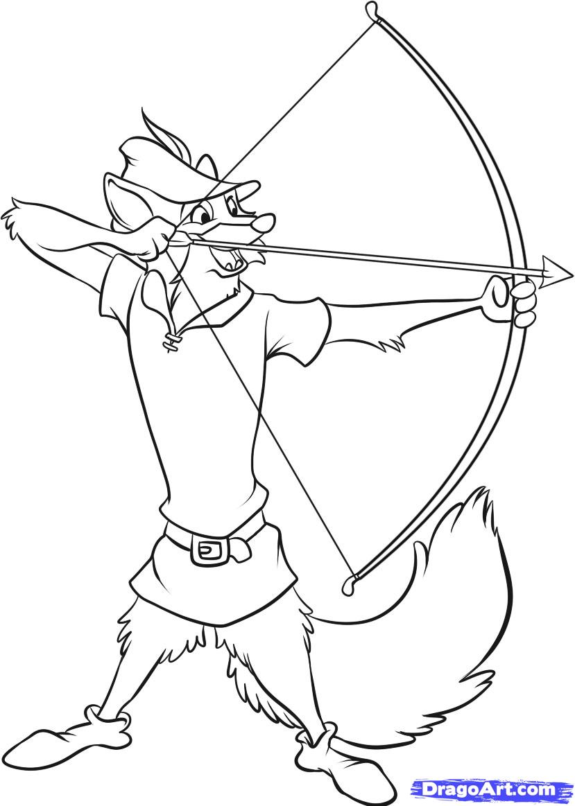 Colouring pages robin hood - Printable Ilration Of A Coloring Page Robin Hood Aiming By