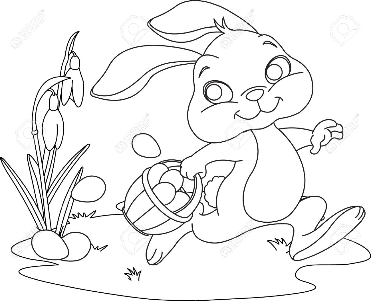 Easter bunny ears coloring pages download and print for free for Ear coloring pages