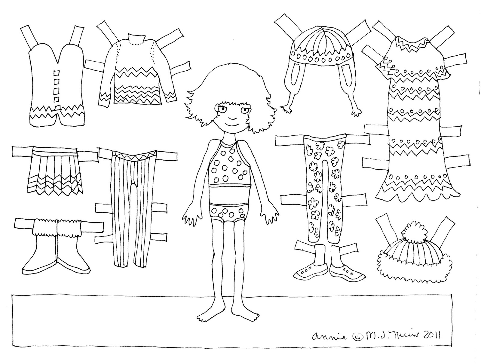 Paper doll coloring pages to download