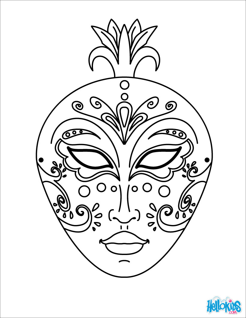 Free coloring pages for mardi gras - Mask Coloring Pages To Download And Print For Free