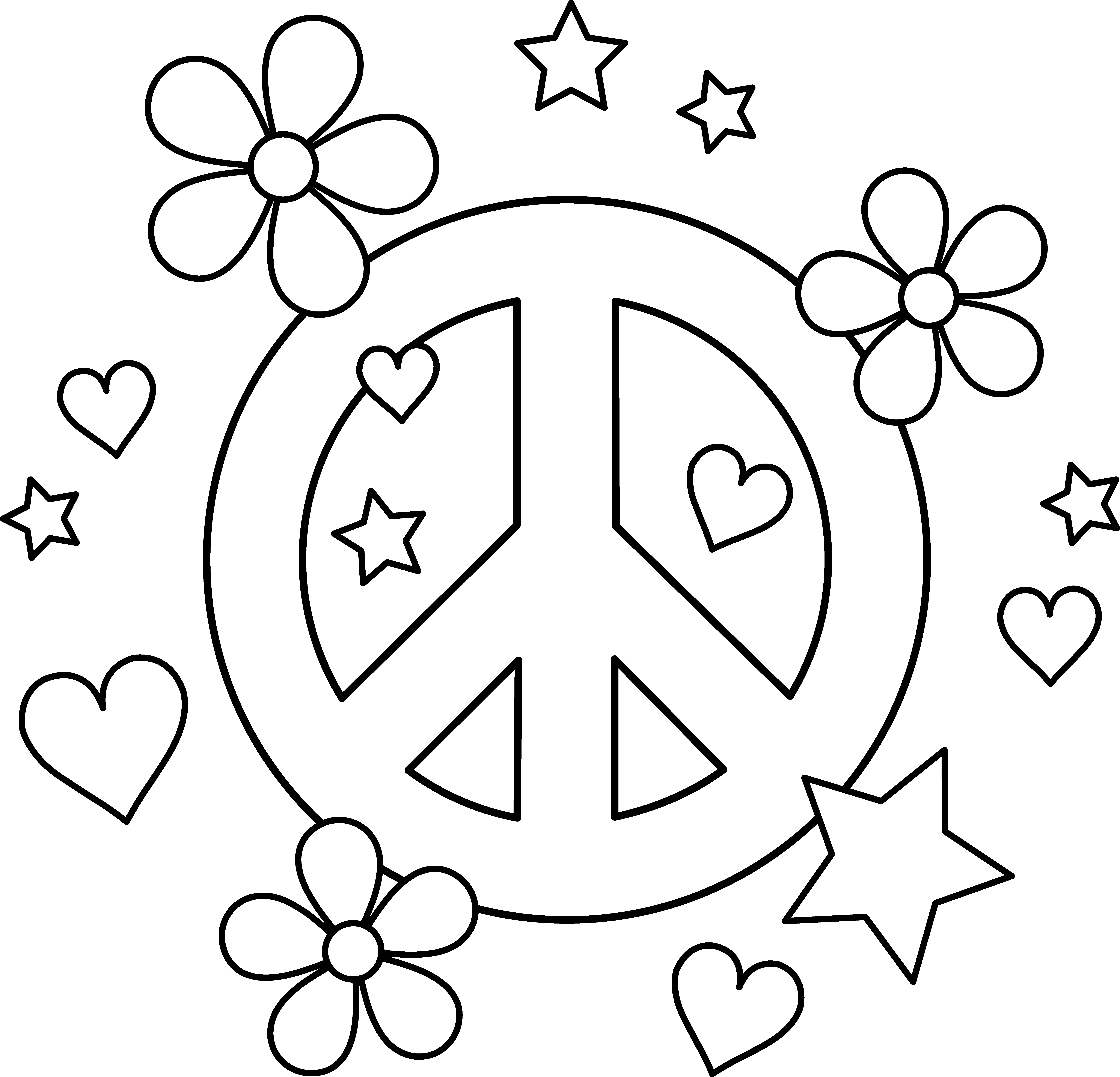 It is a graphic of Canny Peace Sign Coloring Page