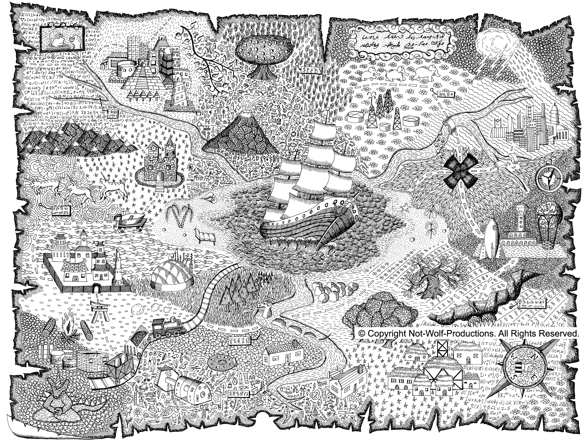 Treasure map coloring pages to download and print for free for Maps coloring pages