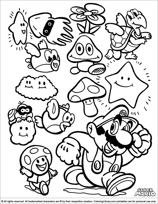 mario brothers sunshine coloring pages - photo#40