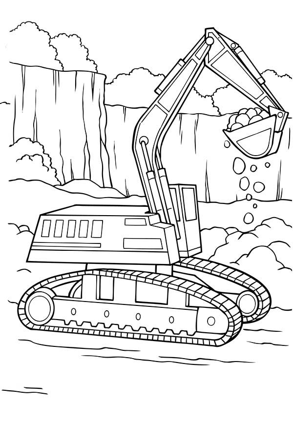 excavator coloring pages to download and print for free