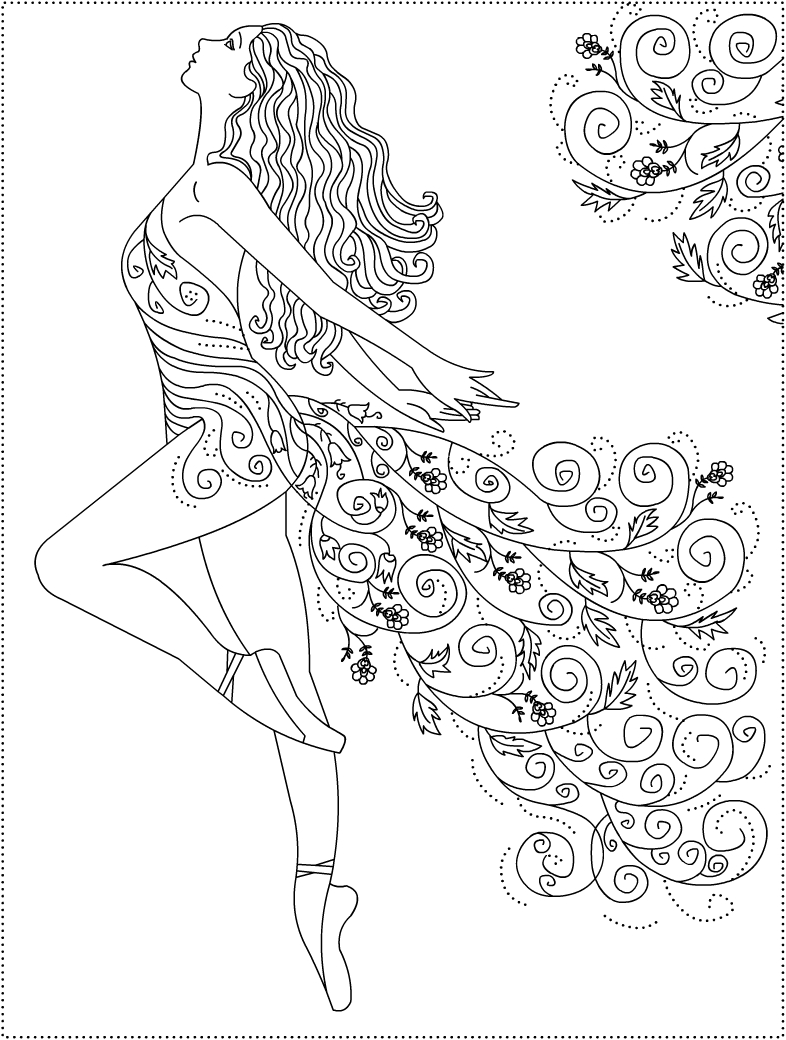 Ballet coloring pages to download and print for free for Zentangle per bambini
