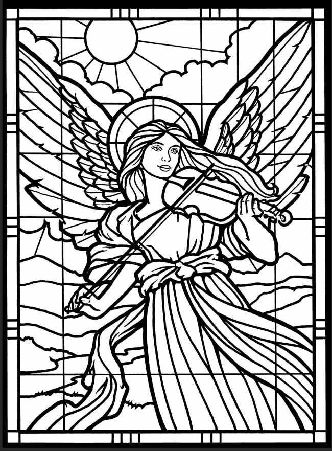 Stained glass window coloring pages download and print for ...