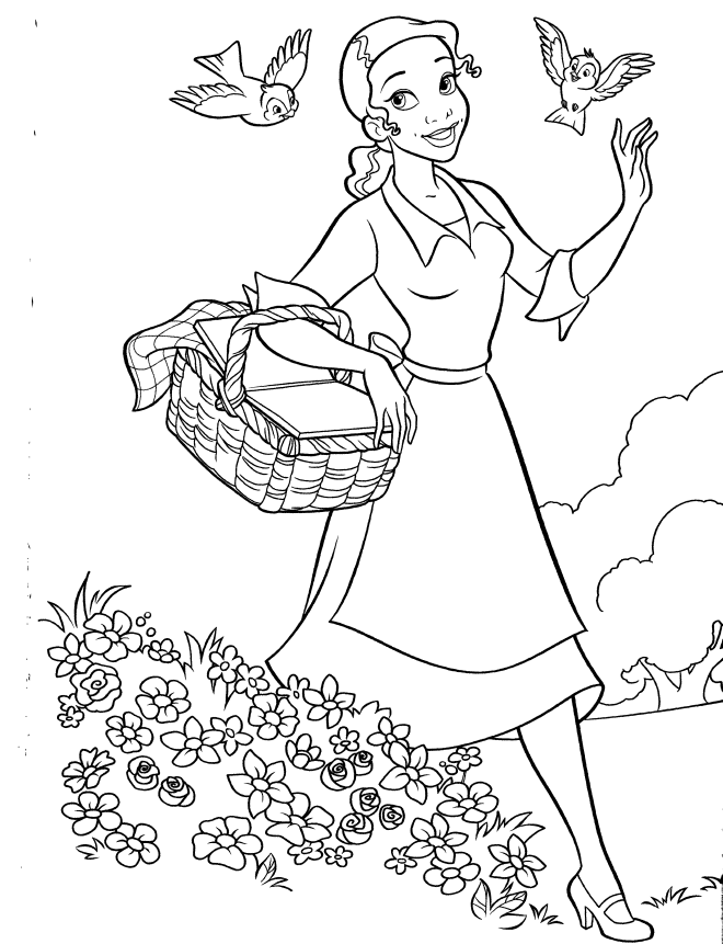 Princess tiana and frog coloring pages