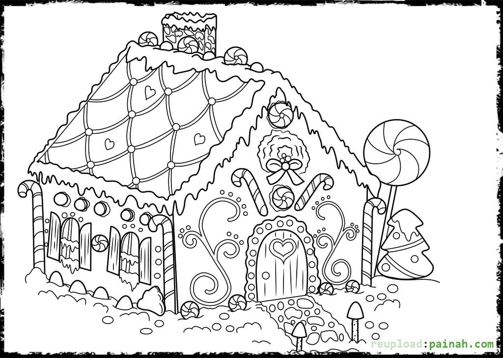 Gingerbread house coloring pages to download and print for for Gingerbread house coloring pages
