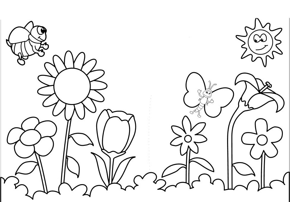 hy and spring flowers coloring page for kids seasons