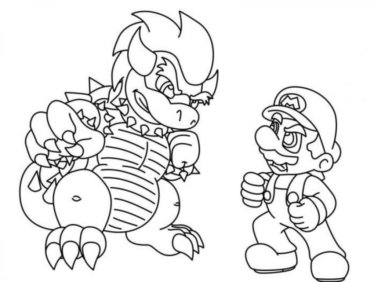 Mario bowser coloring pages download and print for free