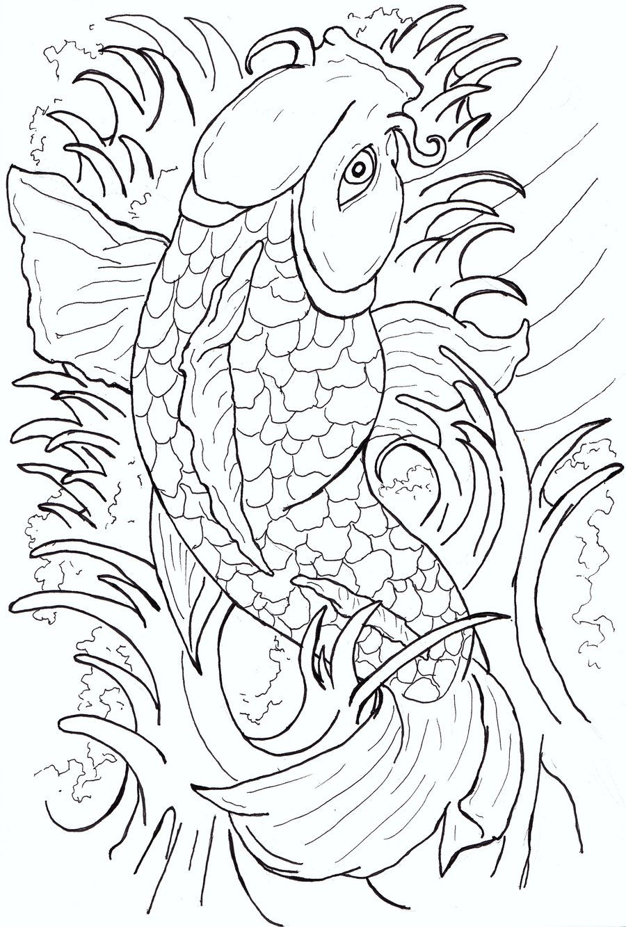 japanese koi coloring pages - photo#4