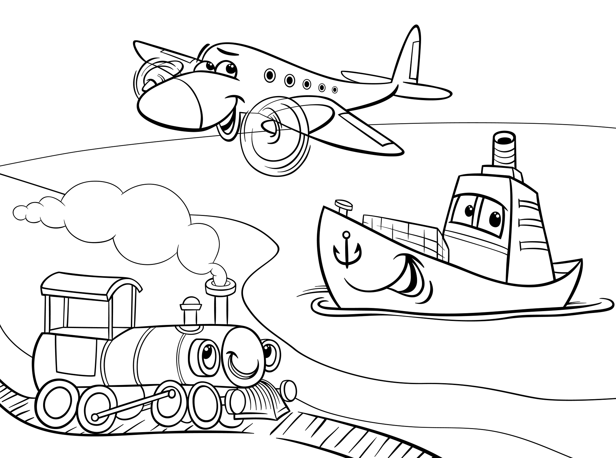 air transport coloring pages | Water transport coloring pages download and print for free