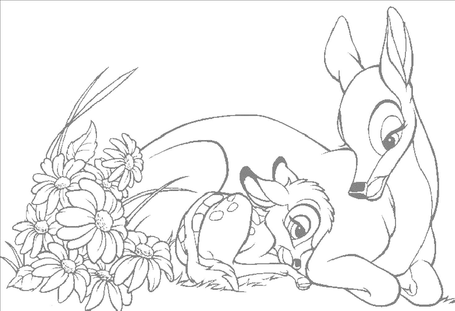 bambi and friends coloring pages download and print for free